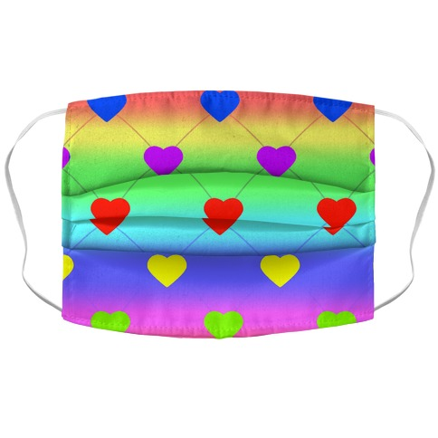 Simple Heart Pattern rainbow Accordion Face Mask