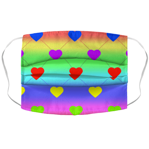 Simple Heart Pattern rainbow Face Mask Cover