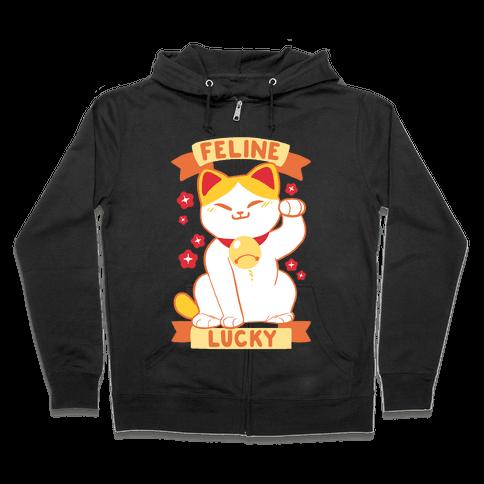 Feline Lucky Zip Hoodie