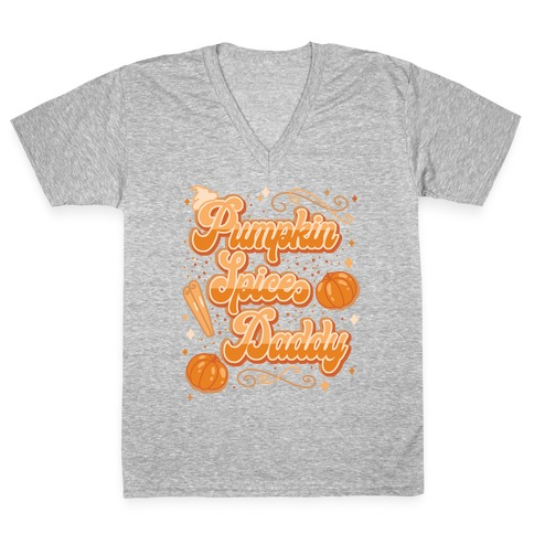 Pumpkin Spice Daddy V-Neck Tee Shirt