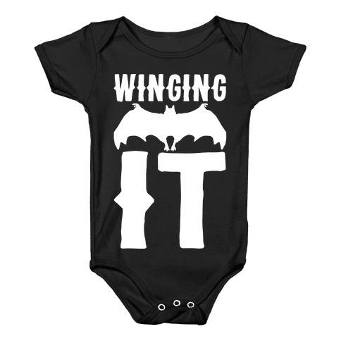 Winging It Bat White Print Baby Onesy