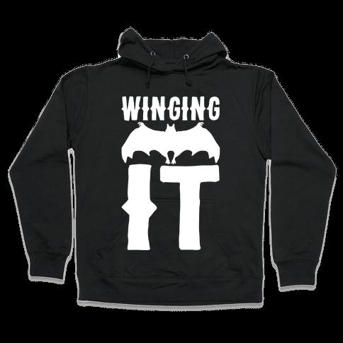 Winging It Bat White Print Hooded Sweatshirt
