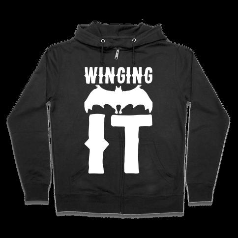 Winging It Bat White Print Zip Hoodie