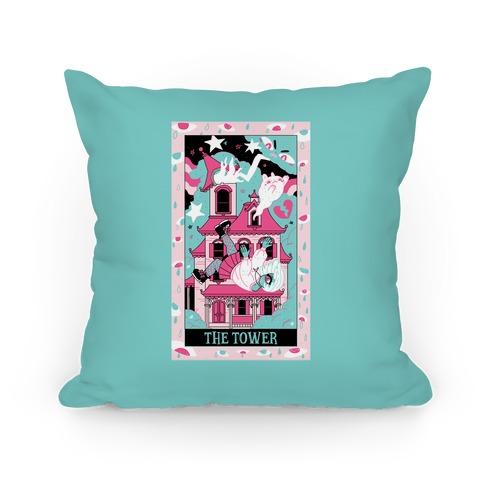 Creepy Cute Tarots: The Tower Haunted House Pillow