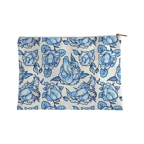 Floral Penis Pattern Blue Accessory Bag