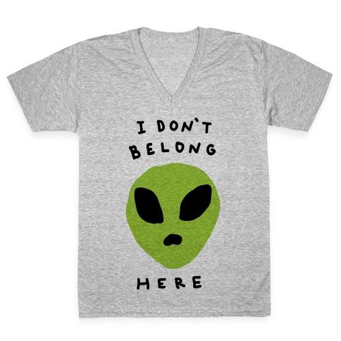 I Don't Belong Here V-Neck Tee Shirt