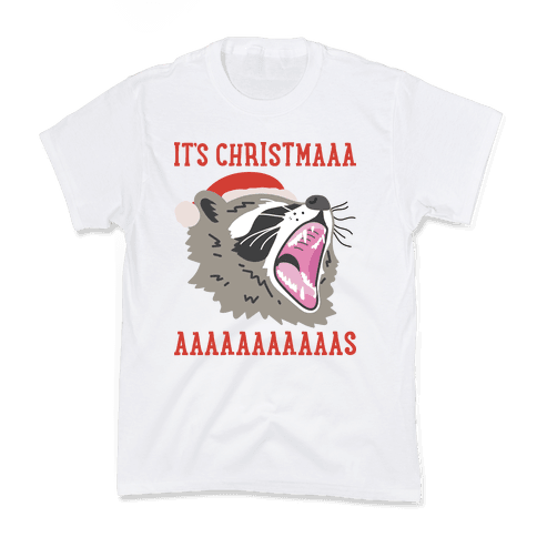 It's Christmas Screaming Raccoon Kids T-Shirt