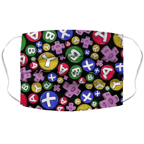 Video Game Controller Buttons Pattern Accordion Face Mask