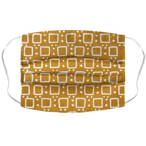 Square and Dot Yellow Brown Rustic Boho Pattern Accordion Face Mask