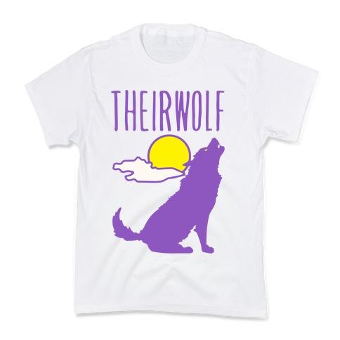 Their-Wolf Non-Binary Werewolf Parody Kids T-Shirt
