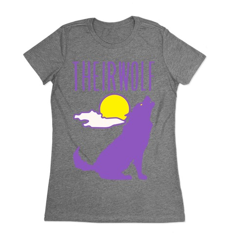 Their-Wolf Non-Binary Werewolf Parody Womens T-Shirt