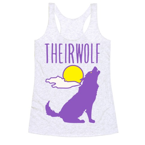 Their-Wolf Non-Binary Werewolf Parody Racerback Tank Top