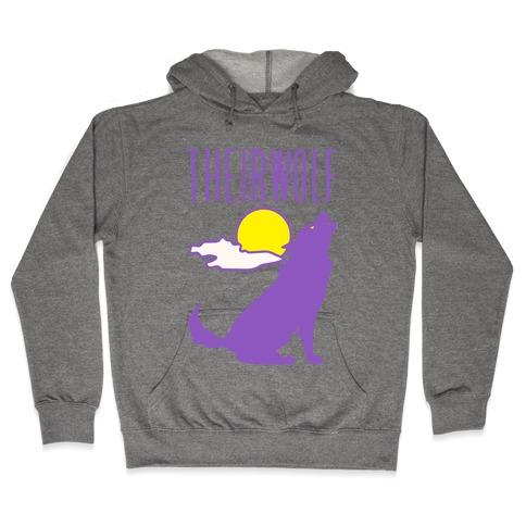 Their-Wolf Non-Binary Werewolf Parody Hooded Sweatshirt