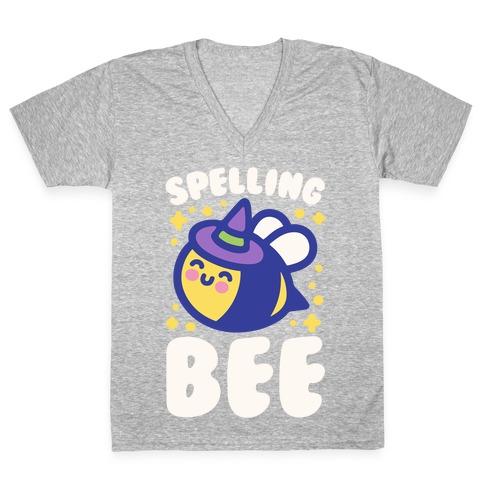 Spelling Bee White Print V-Neck Tee Shirt