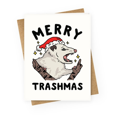 Merry Trashmas Opossum Greeting Card