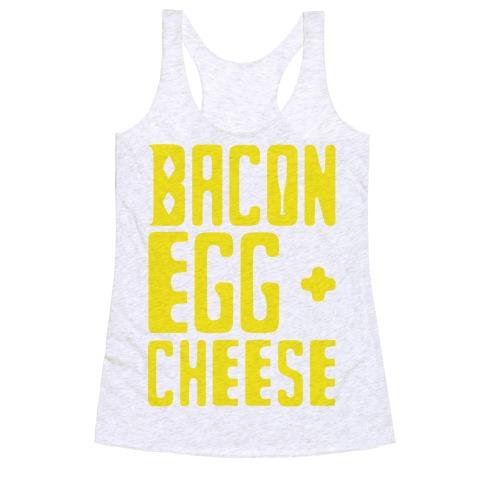 Bacon Egg + Cheese BOP Parody Racerback Tank Top