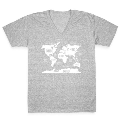 The Ohio World Map V-Neck Tee Shirt