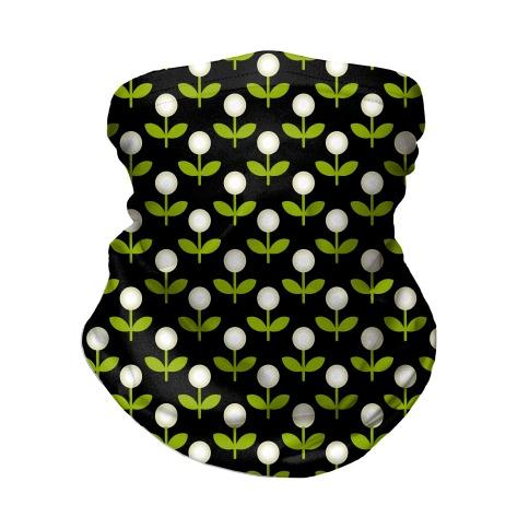 Dainty Retro Dandelions Black Pattern Neck Gaiter