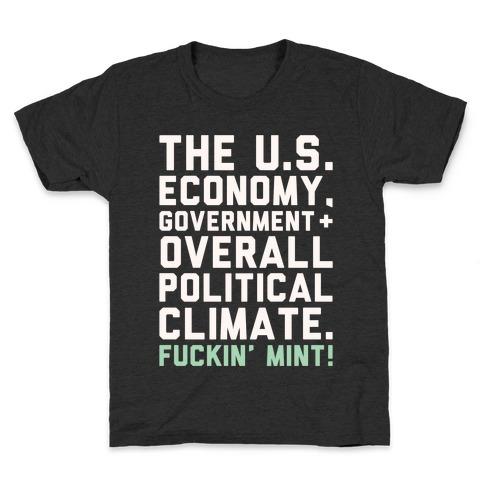 U.S. Government F***in' Mint Parody White Print Kids T-Shirt