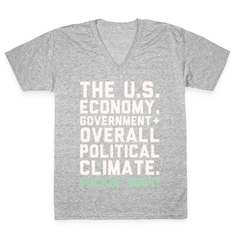 U.S. Government F***in' Mint Parody White Print V-Neck Tee Shirt