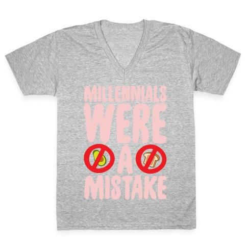Millennials Were A Mistake White Print V-Neck Tee Shirt