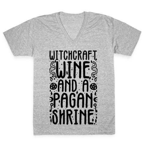 Witchcraft, Wine, and a Pagan Shrine V-Neck Tee Shirt