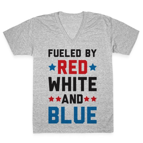 Fueled By Red White And Blue V-Neck Tee Shirt