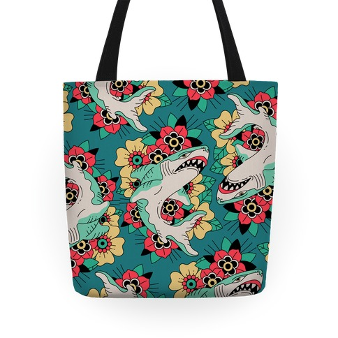 Floral Shark Traditional Tattoo Tote