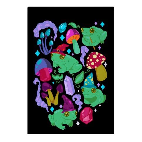 Magical Mushroom Frogs Pattern Garden Flag