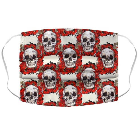 Skull on a Bed of Poppies Pattern Red Accordion Face Mask