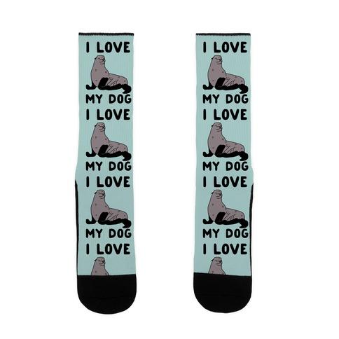I Love My Dog (Seal) Sock
