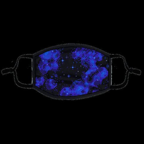 Pixelated Blue Nebula Flat Face Mask