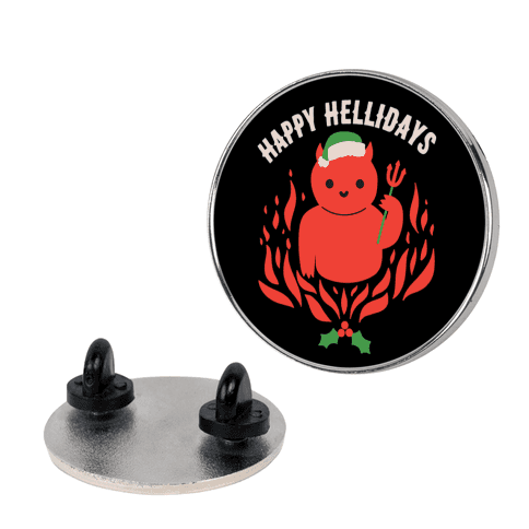 Happy Hellidays Christmas Devil Pin