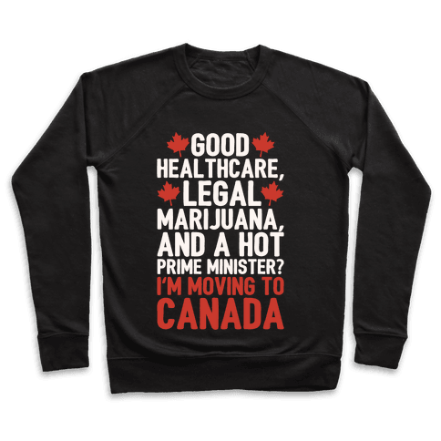 I'm Moving To Canada White Print Pullover