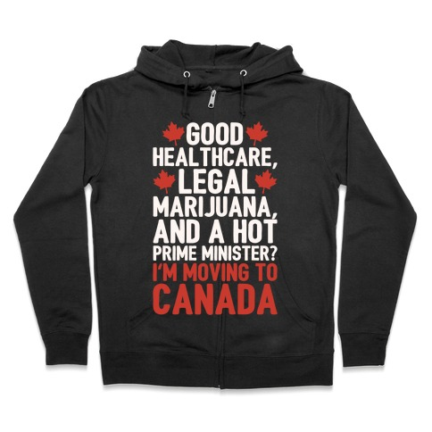 I'm Moving To Canada White Print Zip Hoodie