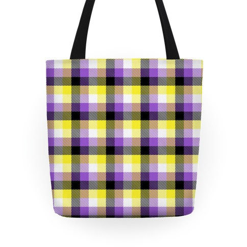 Nonbinary Pride Flag Plaid Tote