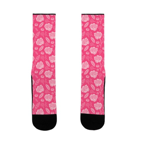 Floral and Leaves Pattern (Pink) Sock