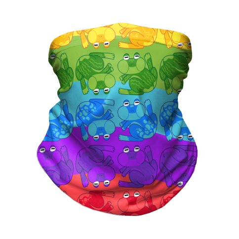 Rainbow Pride Frogs Neck Gaiter