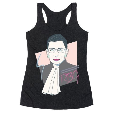 80's Ruth Bader Ginsburg White Print Racerback Tank Top