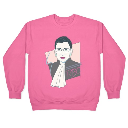 80's Ruth Bader Ginsburg White Print Pullover