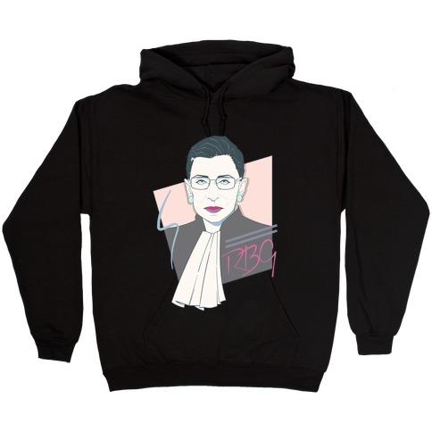 80's Ruth Bader Ginsburg White Print Hooded Sweatshirt