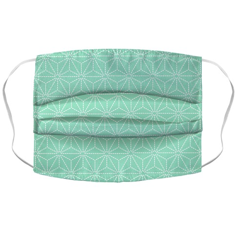 Sashiko Asanoha (Mint) Face Mask Cover