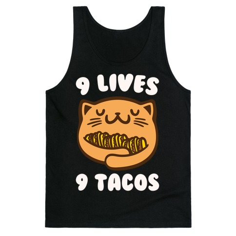 9 Lives 9 Tacos White Print Tank Top
