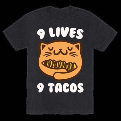 9 Lives 9 Tacos White Print Mens/Unisex T-Shirt
