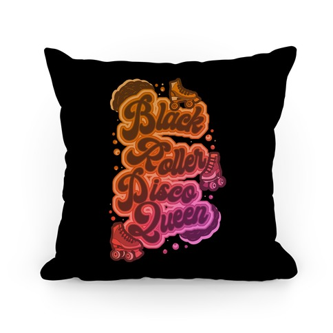 Black Roller Disco Queen Pillow