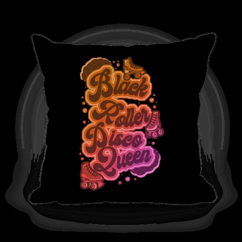 Black Roller Disco Queen Pillow
