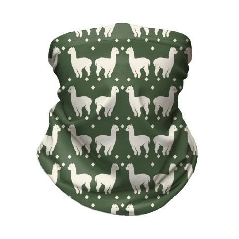 Llama Chive Boho Pattern Neck Gaiter