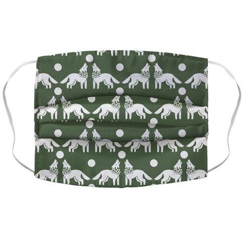 Wolves Howling at Moon Boho Pattern Chive Green Face Mask
