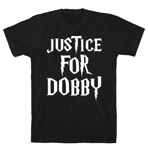 Justice For Dobby Parody White Print Mens T-Shirt
