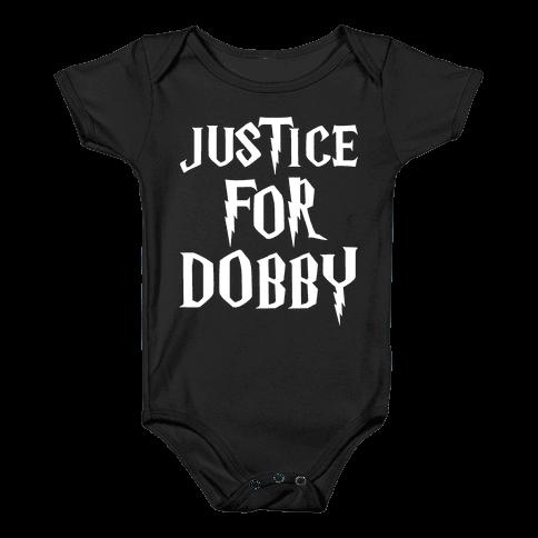 Justice For Dobby Parody White Print Baby Onesy